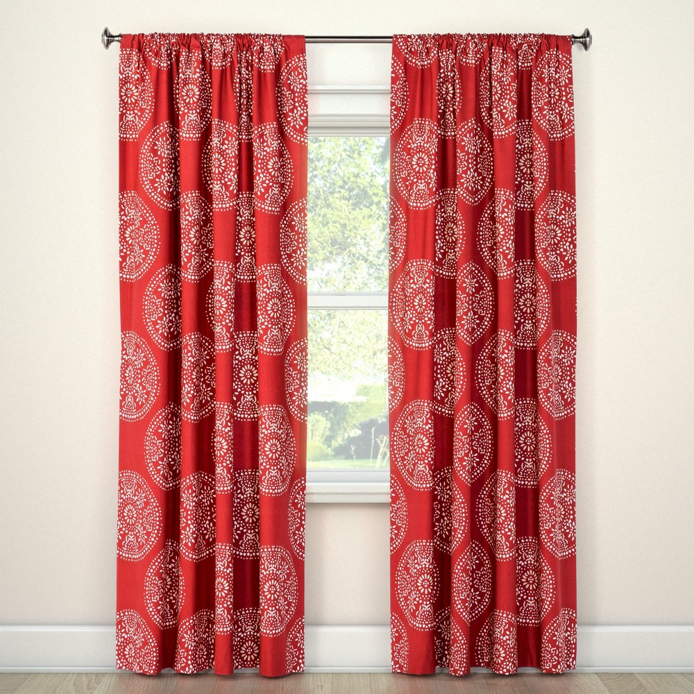 Tile Medallion Curtain Panel Red (95) - Threshold, Brown Red White