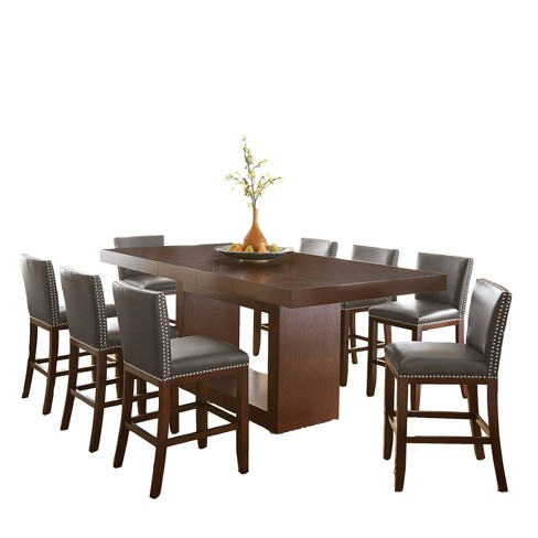 9pc Abbot Counter Height Dining Set Gray - Steve Silver - image 1 of 4