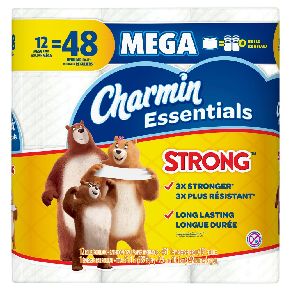 Charmin Essentials Strong Toilet Paper - 12 Mega Rolls