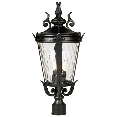 "John Timberland Traditional Outdoor Post Light Textured Black Scroll 25"" Clear Hammered Glass for Exterior Garden Yard"