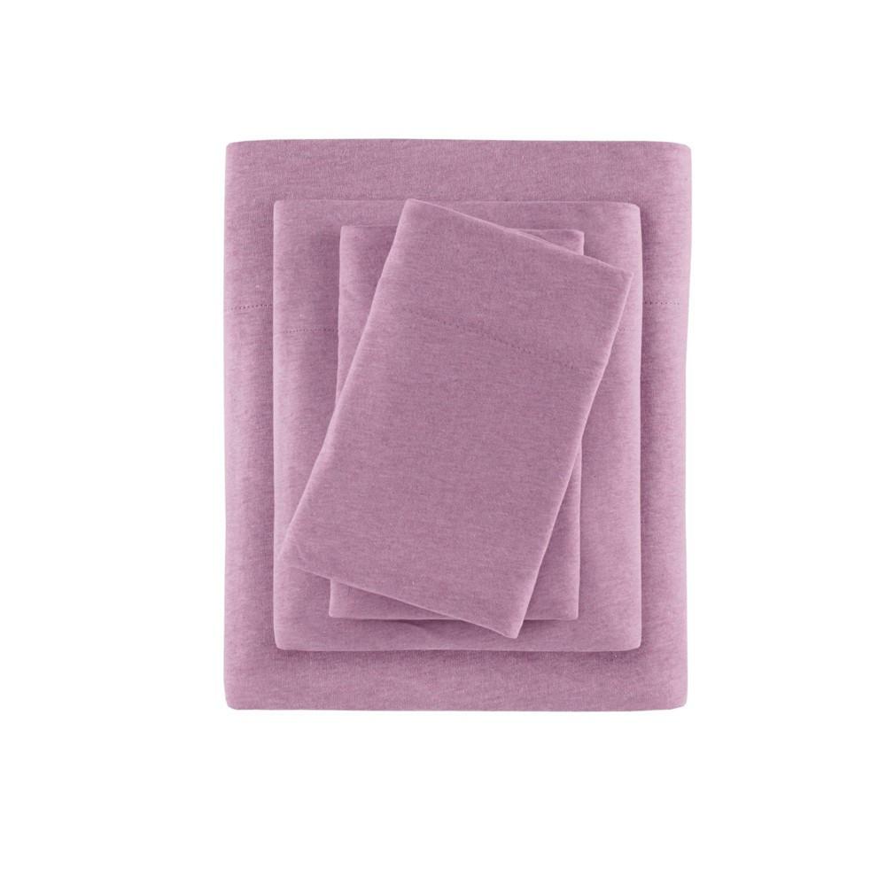 Heathered Cotton Jersey Knit Sheet Set Queen Purple