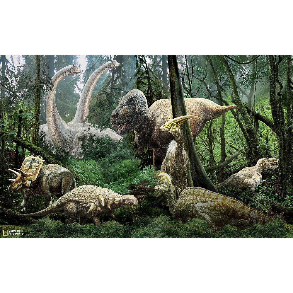 WallPops! National Geographic Dinosaurs Mural - Green, Multi-Colored