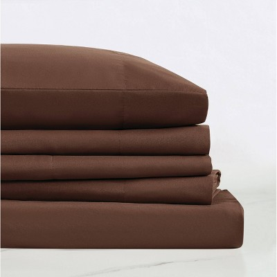 Queen Everyday Microfiber Solid Sheet Set Brown - Truly Soft