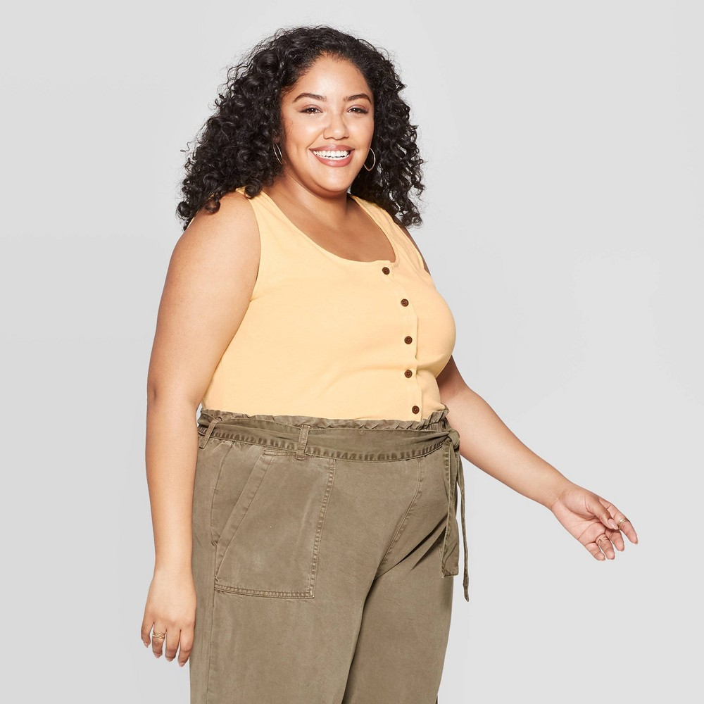Women's Plus Size Crewneck Button-Front Tank Top - Universal Thread Yellow 1X
