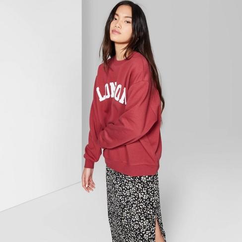 aa5ace80cadf Women s Long Sleeve Oversized Crewneck Sweatshirt With London Graphic -  Wild Fable™ Burgundy   Target