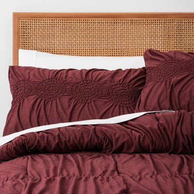Burgundy Solid Ruched Jersey Comforter Set (Full/Queen)3pc - Opalhouse™