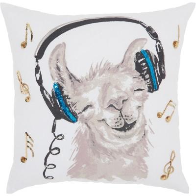 Glitter Rockin' Llama Square Throw Pillow White - Mina Victory