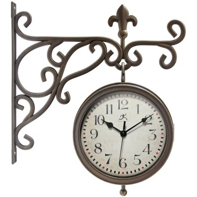 Infinity Instruments 20079AB-4430 Beauregard Decorative Outdoor Hanging Wall Clock and Thermometer Combo with Hanging Bracket, Antique/Vintage Copper