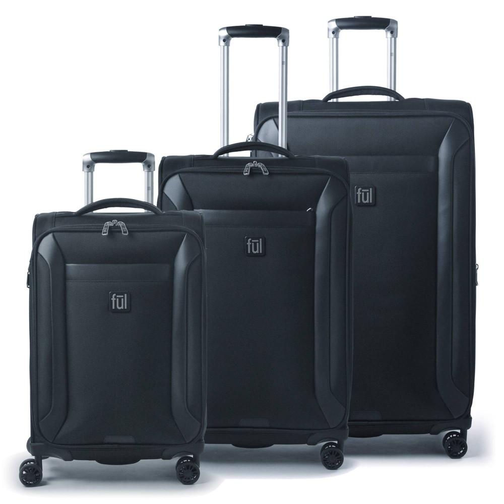 Ful Heritage Classic 3pc Softside Spinner Luggage Set Black