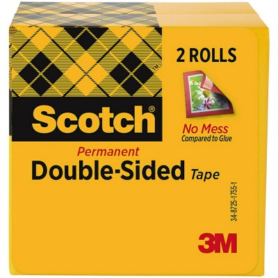 Scotch 665 Double-Sided Tape, 0.50 x 900 Inches, Clear, pk of 2