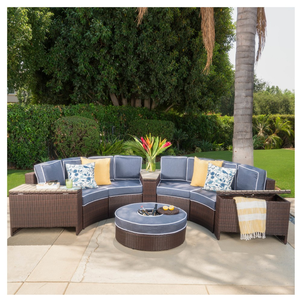 Madras Tortuga 8pc Wicker 1/2 Round Seating Set with Ice Bucket Ottoman - Navy Blue - Christopher Knight Home