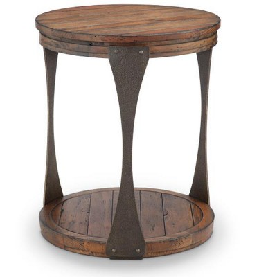 Montgomery Industrial Reclaimed Wood Round Accent Table in Bourbon Finish - Magnussen Home Furnishings