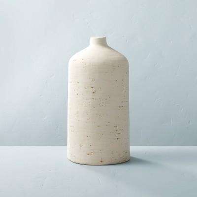 """16"""" Distressed Ceramic Vase Natural Cream - Hearth & Hand™ with Magnolia"""