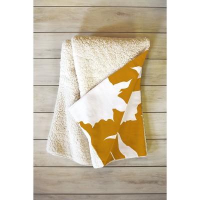 "66""x50"" Iveta Abolina La Jardin Noir VI Throw Blanket Yellow - Deny Designs"