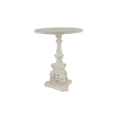 Farmhouse Fiberglass and Chinese Fir Accent Table White - Olivia & May