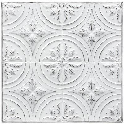 Metal Vintage Ceiling Tile with Leaf Detail Wall Art - StyleCraft