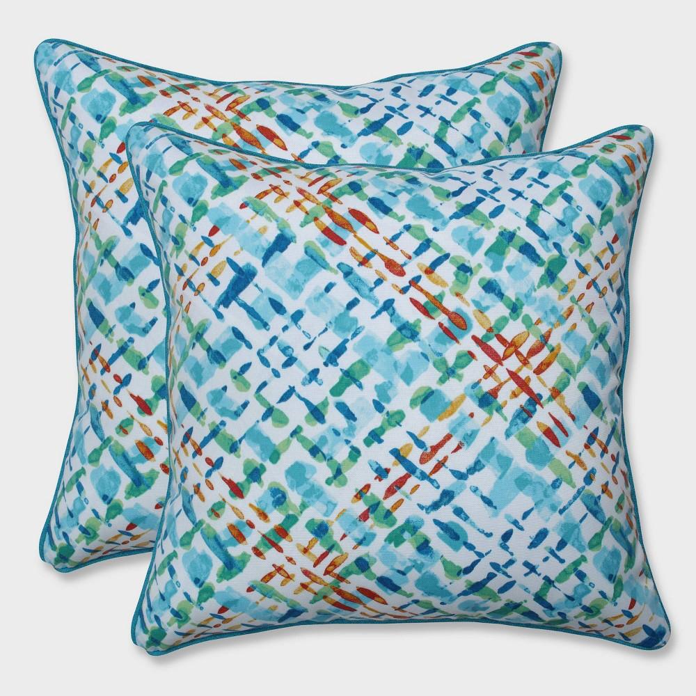"""Image of """"16.5"""""""" 2pk Capiz Opal Throw Pillows Blue - Pillow Perfect"""""""