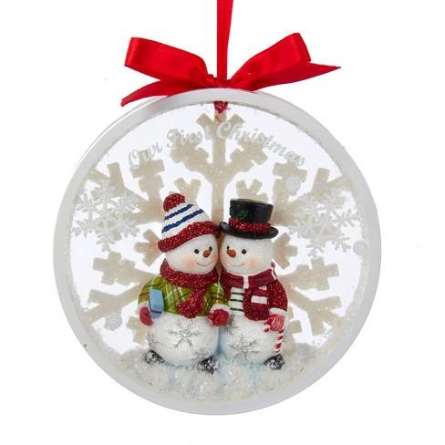 Kurt S Adler 4 5 Snow Couple Our First Christmas Snowflake Christmas Disc Ornament Target
