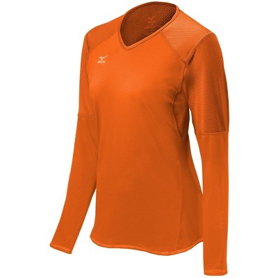 Mizuno Womens Fitted Long Sleeve V Neck Athletic T-shirt - Orange Large