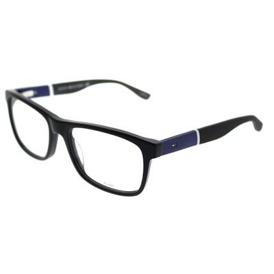 Tommy Hilfiger  FMV Unisex Rectangle Eyeglasses Black Blue 52mm