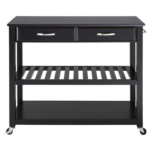 Solid Black Granite Top Kitchen Cart/Island With Optional Stool Storage -  Black - Crosley