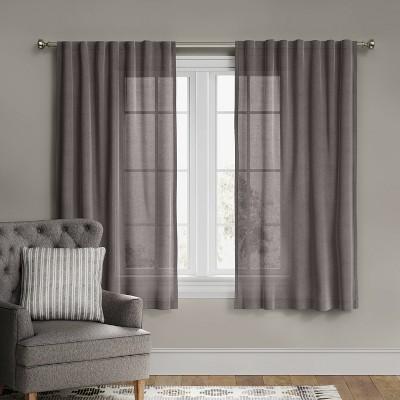 """63""""x54"""" Linen Light Filtering Curtain Panel Gray - Threshold™"""