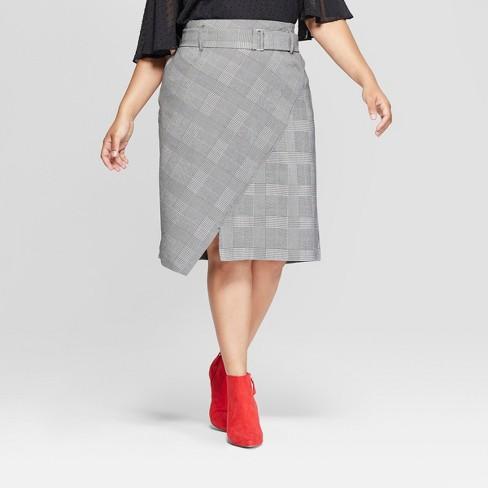 1bd96313b8 Women's Plus Size Plaid Asymmetrical Hem Midi Skirt - Ava & Viv™ Gray