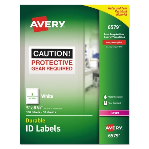 Avery® 06579, Permanent ID Labels with TrueBlock Technology, Laser, 5 x 8 1/8, White, 100/Pack - image 1 of 5