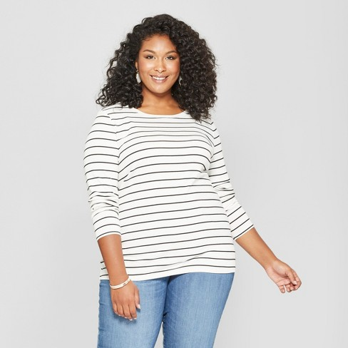 7ab683a8284 Women s Plus Size Striped Crew Neck Long Sleeve T-Shirt - Ava   Viv™  Black White