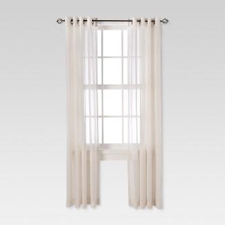 """Linen Grommet Sheer Curtain Panel Natural (54""""X84"""") - Threshold™"""