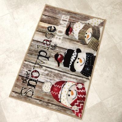"Lakeside Snowman Bathroom Rug With Farmhouse Look - ""Snowplace Like Home"" : Target"