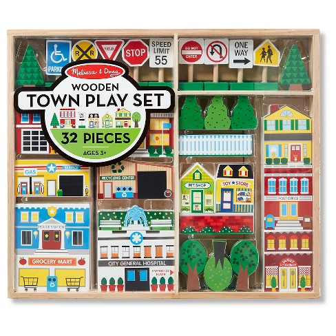 Melissa & Doug® Wooden Town Play Set With Storage Tray (32pc) - image 1 of 4