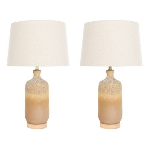 (Set of 2) Two Tone Ceramic Table Lamp with Reactive Glaze Finish Linen Shade Each one will Vary - Creative Co-Op - image 1 of 4