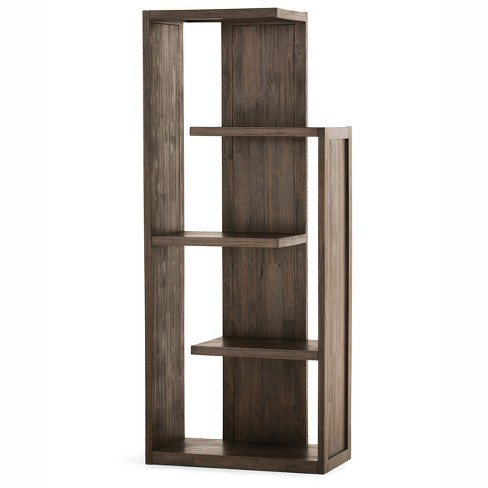 Garret Solid Acacia Wood Bookcase Distressed Charcoal Brown Wyndenhall