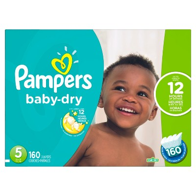Pampers Baby Dry Diapers Economy Plus Pack Size 5 (160 ct)