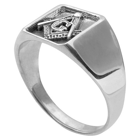 06ed69658 Men's Daxx Masonic Ring In 14K Goldplated Sterling Silver : Target