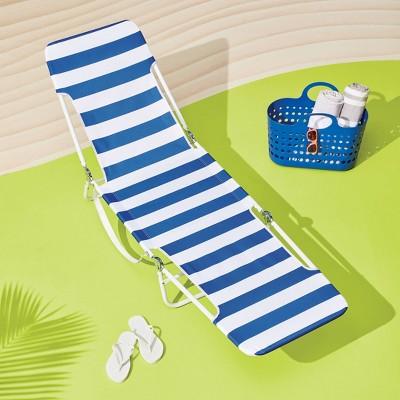 Cabana Stripe Beach Lounger Blue - Sun Squad™