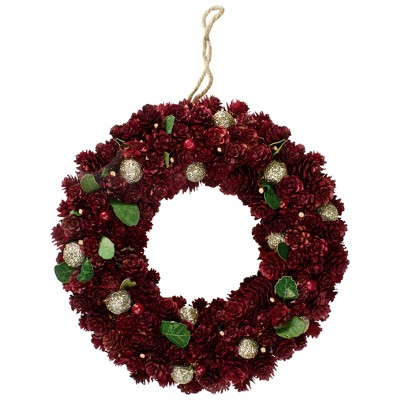 Northlight Red Pine Cone and Berry Artificial Christmas Wreath - 12-Inch, Unlit