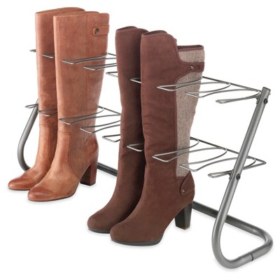 Whitmor 4-Pair Boot Rack - Gunmetal