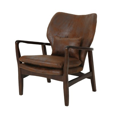 Haddie Mid Century Modern Microfiber Club Chair Brown - Christopher Knight Home