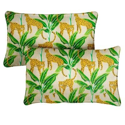 """14"""" 2pk Corded Outdoor Throw Pillows Yellow/Green"""
