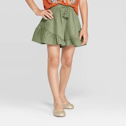 Girls' Ruffle Shorts - art class™ Green - image 1 of 3