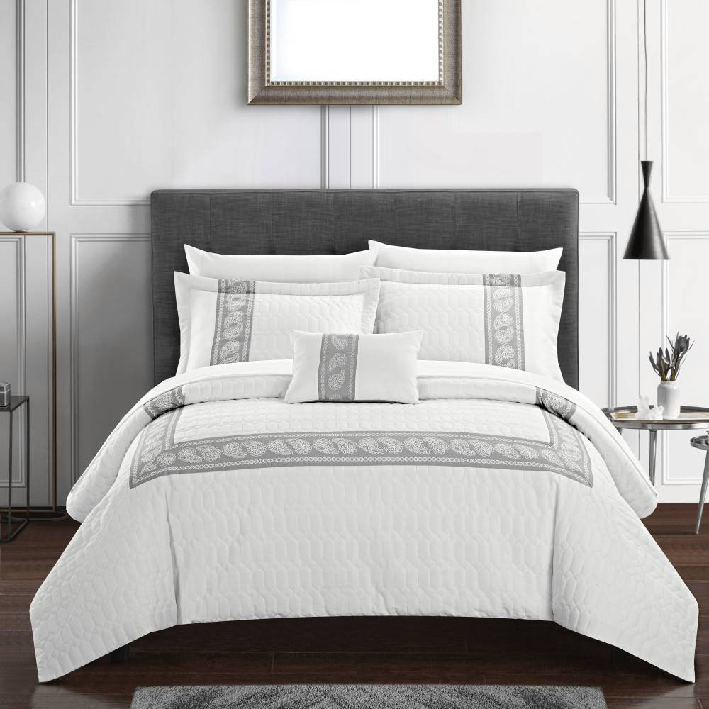 Chic Home Design Queen 8pc Mason Bed In A Bag Comforter Set White
