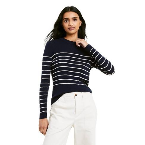 Women's Striped Crewneck Pullover Sweater - Nili Lotan x Target Navy - image 1 of 4