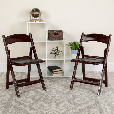 Emma and Oliver 4 Pack. 1000 lb. Rated Resin Folding Chair with Vinyl Seat