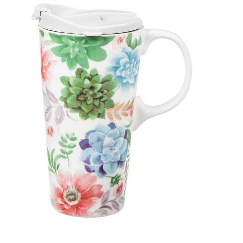 17 ounces Cypress Home Myrtle Ceramic Travel Coffee Mug