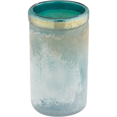 "Studio 55D Multi-Tone Blue 9 1/2"" High Cylinder Glass Decorative Vase"