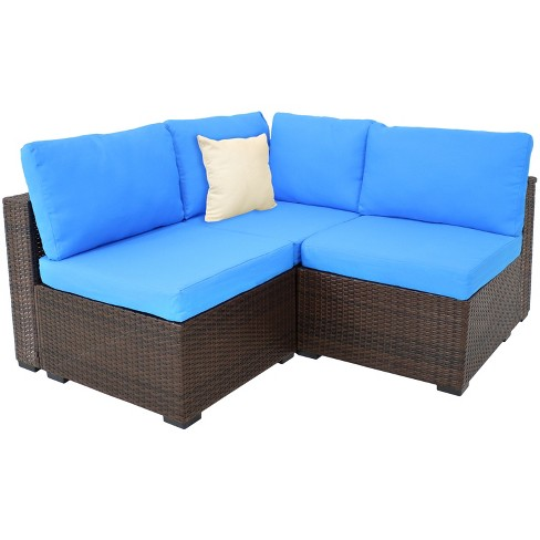 Rosslare Corner Sectional Patio Sofa - Brown Rattan and Blue Cushions - Sunnydaze Decor - image 1 of 4