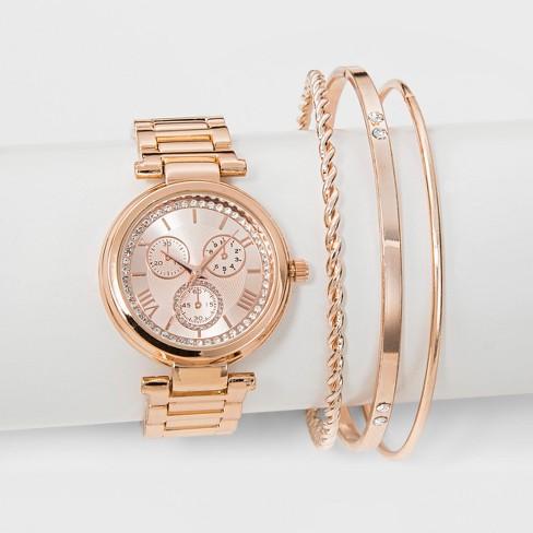 Women S Watch Bracelet Set Rose Gold
