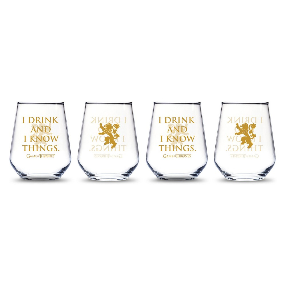 Game of Thrones I Drink And I Know Things Stemless Wine Glasses 15oz - Set of 4, Clear